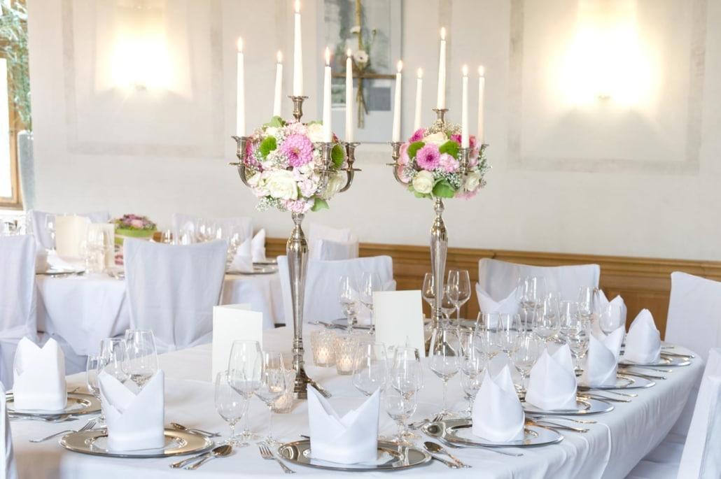 Tischdeko im Rittersaal